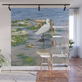 A Heron by the sea Wall Mural