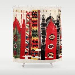 Aksaray  Antique Turkish Cappadocian Kilim Rug Fragment Print Shower Curtain