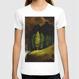 Hiker in an Alpine Mountain landscape painting by Franz Sedlacek T-shirt
