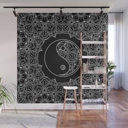 Yin yang symbol in Black and white lace ornament Wall Mural