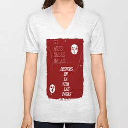 SI ASES COSAS MALAS.. (RED) Unisex V-Neck