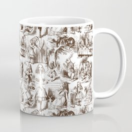 Alice in Wonderland | Toile de Jouy Pattern | Brown and White | Vintage Pattern | Victorian Gothic | Coffee Mug