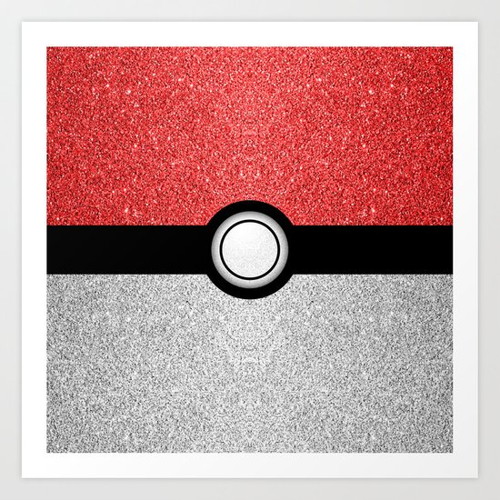 Sparkly red and silver sparkles poke ball Art Print