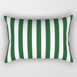 Large Forest Green and White Rustic Vertical Beach Stripes Rectangular Pillow