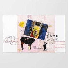 Llama Just Killed A Man mixed media collage llama art by Michel Keck Rug