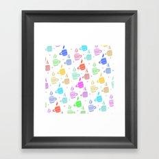 Modern pastel winter holidays coffee hand drawn pattern Framed Art Print