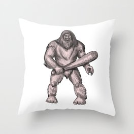 Bigfoot Holding Club Standing Tattoo Throw Pillow