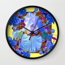 PASTEL IRIS & BLUE  BLUE FLOWERS YELLOW PATTERNS  FLOWERS ART FLOWERS Wall Clock