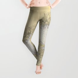 Vintage Map of The Long Island Sound (1934) Leggings
