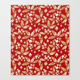 Christmas pattern.Gold sprigs on a bright red background. Canvas Print