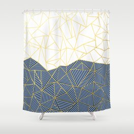 Ab Half and Half Navy Gold Shower Curtain