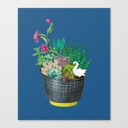 Succulents & Origami Swan Canvas Print