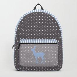 Blue Gray White Polka Dots | Stripes Deer Backpack