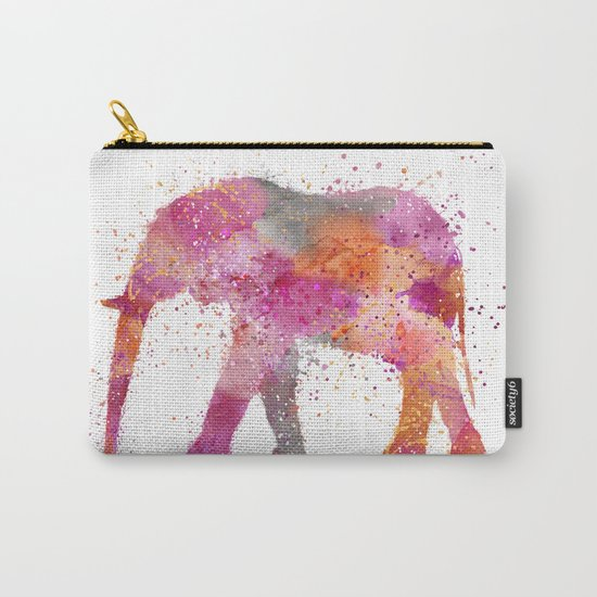 Artsy watercolor Elephant bright orange pink colors Carry-All Pouch