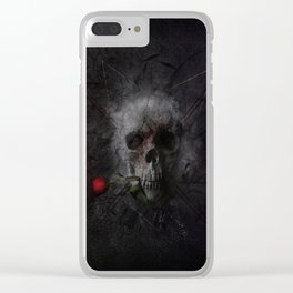 Skull with Rose Clear iPhone Case