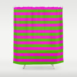 Hot Pink And Kelly Green Stripes Shower Curtain
