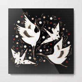 Origami Crane Metamorphosis (Noir) Metal Print