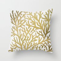 coral Throw Pillows featuring Gold Coral by Cat Coquillette