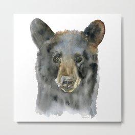 Black Bear Watercolor Metal Print