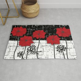 Retro. Red poppies on white background sulfur. Applique. Rug