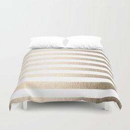 Simply Striped in White Gold Sands Duvet Cover