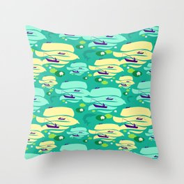 Pattern with fishermen in boats (green version) Throw Pillow