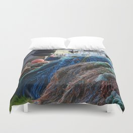 Dutch Harbor Fishing Nets and Boats Duvet Cover