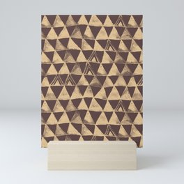 Dark Brown Tribal Triangles Mini Art Print