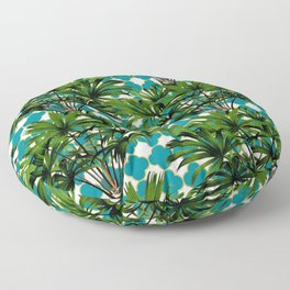 Geometric Palm Leaf Pattern - Teal Gold Floor Pillow