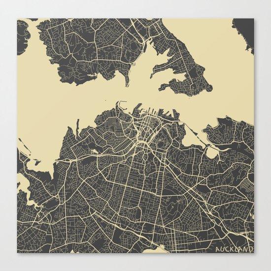 Auckland Map Canvas Print