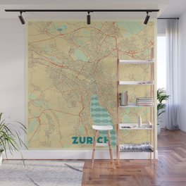 Zurich Map Retro Wall Mural