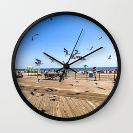 Seagulls of Coney Island Wall Clock