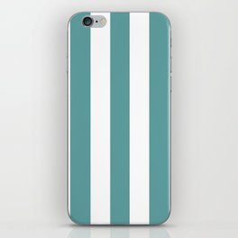Cadet blue - solid color - white vertical lines pattern iPhone Skin