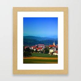 Village skyline on a summer afternoon Framed Art Print