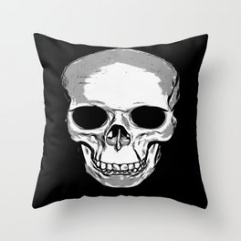 Monotone Skull Throw Pillow