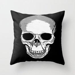 Monotone Skull Throw Pillow