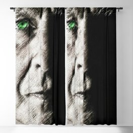 Black and white painting - Man with one green eye - Jeanpaul Ferro Blackout Curtain
