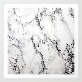 White Marble Texture Art Print