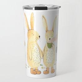 bunnies in the garden Travel Mug