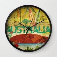 australia Wall Clocks featuring Australia by LilianaPerez