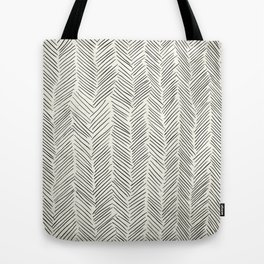 Herringbone Black on Cream Tote Bag