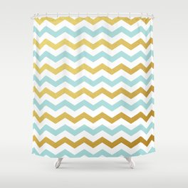 Tiffany Blue and Gold Chevron Pattern Shower Curtain