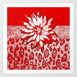 Animal Print Red and White Abstract Art Print