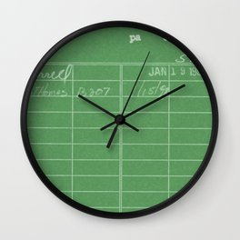 Library Card 797 Negative Green Wall Clock