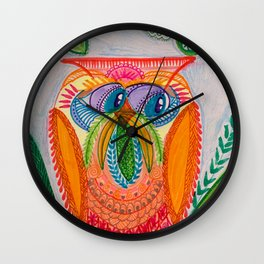 Owl Look Away This Time Wall Clock