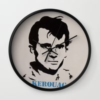 kerouac Wall Clocks featuring Jack Kerouac Record Painting by All Surfaces Design