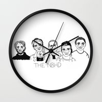 cactei Wall Clocks featuring The NBHD by ☿ cactei ☿