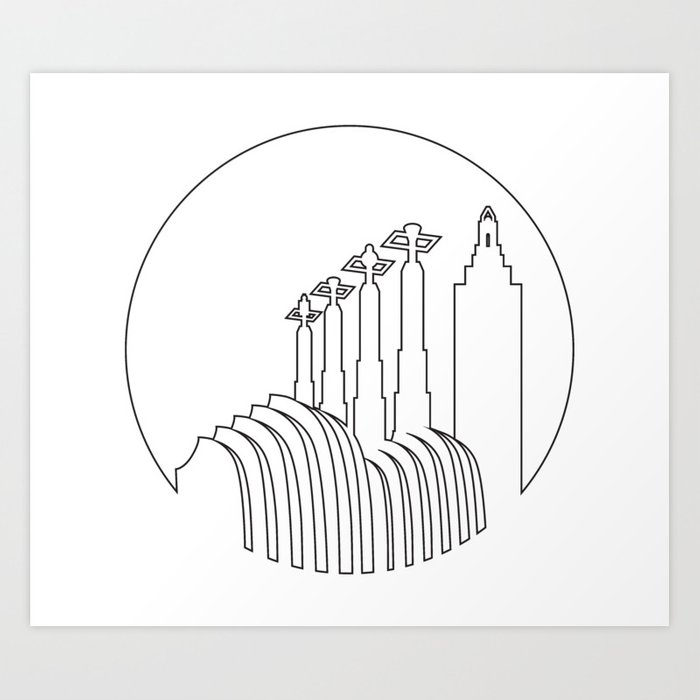 Line Art Ks : Kansas city minimalist line art skyline print by