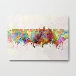 Madison skyline in watercolor background Metal Print