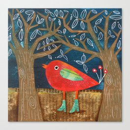 Red Bird in Galoshes Canvas Print